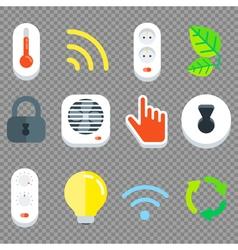 Smart House Flat Tech Icon Set vector image vector image