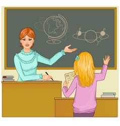 Teacher at blackboard asks children vector image vector image