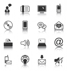communication icon set white series vector image vector image