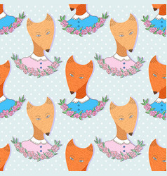 cute foxes pattern seamless background print for vector image vector image