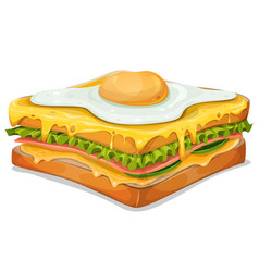 french sandwich with fried egg vector image