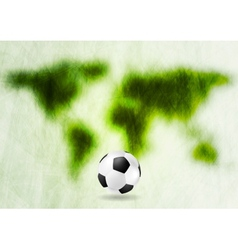 Grunge green map and football vector image