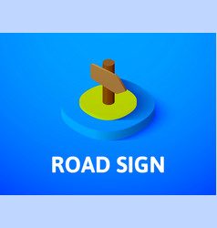 road sign isometric icon isolated on color vector image vector image