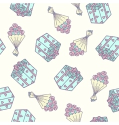 Romantic seamless pattern with bouquet of roses vector image