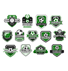 soccer sport club and football team shield badge vector image vector image