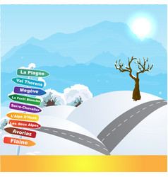 wintersports in french alps vector image