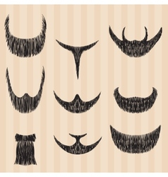 Mens retro collection of hair styling beard vector image