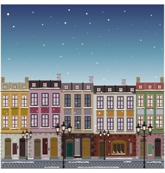 Old street town Christmas background vector image vector image