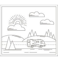 travel in linear style vector image