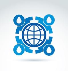Water circulation around the globe icon conceptual vector image