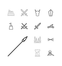 13 medieval icons vector