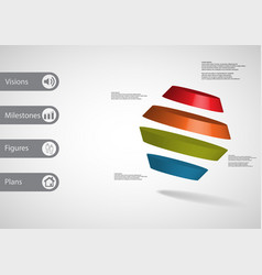 3d infographic template with rotated hexagon vector image
