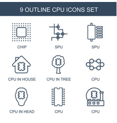 9 cpu icons vector image