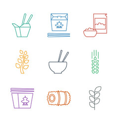 9 rice icons vector