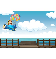 A boastful monkey flying on a plane vector