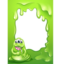 A border template with a fat green monster vector