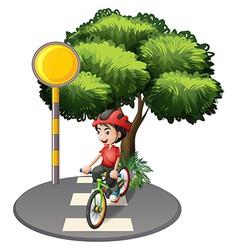 A street with a boy biking vector