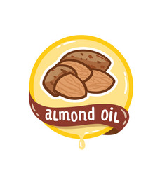 almond oil logo natural product emblem vector image