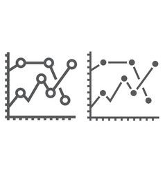 analytics graph line and glyph icon development vector image