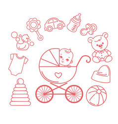 bain carriage bastroller and kids objects vector image