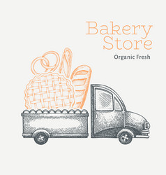 bakery delivery logo template hand drawn truck vector image