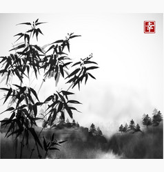 Bamboo trees and forest in fog hand drawn with ink vector