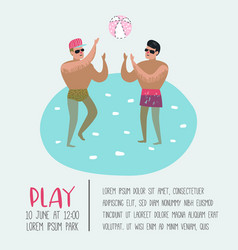 beach vacation poster banner two man playing ball vector image
