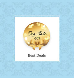 Best deals big sale -50 off golden round label vector