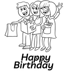 birthday cartoon greeting card design with kids vector image