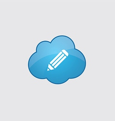 Blue cloud pencil icon vector