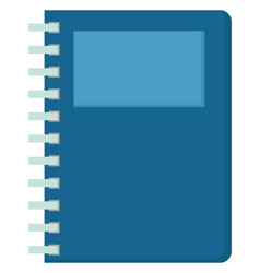 blue notebook on white background vector image