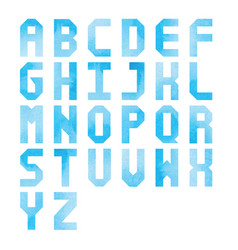 blue watercolor alphabet on white background vector image