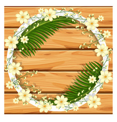 Border template with white flowers and green vector