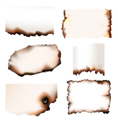 burnt paper with burning edges set vector image