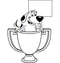 cartoon dog inside a trophy cup holding a sign vector image