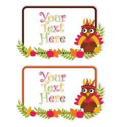 Cartoon with cute turkey on leaves frames vector