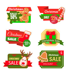 christmas sale 50 percent reduction isolated icons vector image