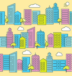 city street seamless pattern in flat style vector image