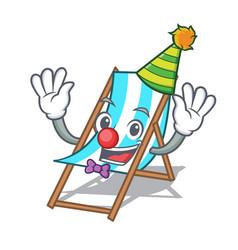 Clown beach chair mascot cartoon vector