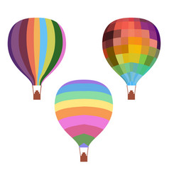 Colorful drawing hot air balloons set vector