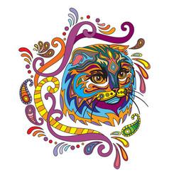Colorful ornamental cat 4 vector