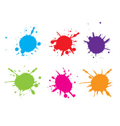 colorful paint splatterpaint splash set vector image