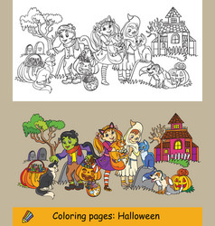 coloring children celebrating vector image