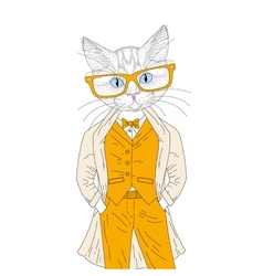 Cute anthropomorphic cat boy in elegant suit vector