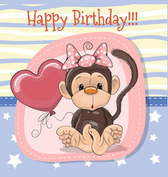 cute cartoon monkey with balloon vector image