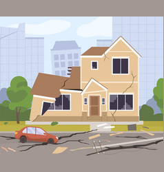 destroyed city buildings damaged car cracked vector image