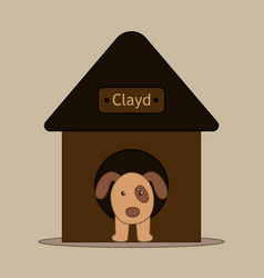 dog in dog house in flat design vector image