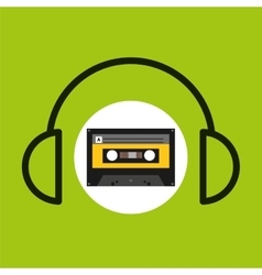 earphones music cassette tape vector image