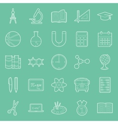 Education and school thin lines icons set vector image