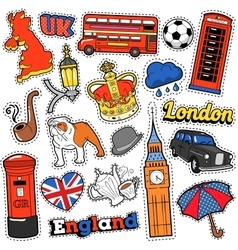 England Travel Scrapbook Stickers Patches Badges vector